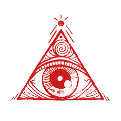 A pyramid with a eye inside. Hand drawn isolated symbol. Magic symbolism. It can be used for printing on t-shirts, postcards, or used as ideas for tattoos.