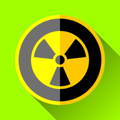 Radiation sign icon in flat style, vector design toxic illustration for you project