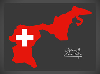 Appenzell Ausserrhoden map of Switzerland with Swiss national flag illustration