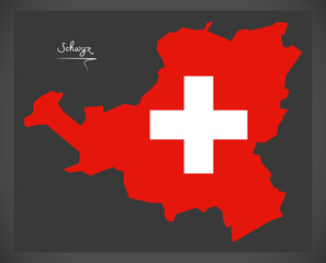 Schwyz map of Switzerland with Swiss national flag illustration