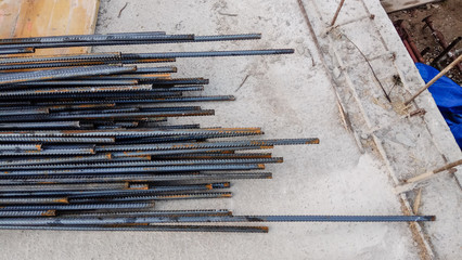 steel rods on worksite