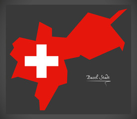 Basel Stadt map of Switzerland with Swiss national flag illustration