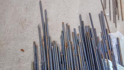 steel rods on worksite