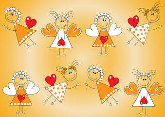 Seamless Christmas pattern.Angels with hearts in hands on an orange background.Vector illustration