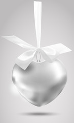 Metal vector romantic decoration with a ribbon on a white background. Template. Hanging toy. Vector object design, layout. Mocap. Vector illustrator. 10 EPS