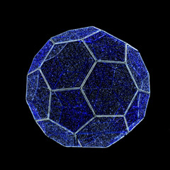 Soccer-ball Garland lamp isolated on black.