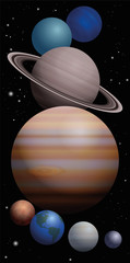Planet cluster of our solar system with approximate relation in size - Mercury, Venus, Earth, Mars, Jupiter, Saturn, Uranus, Neptune, from bottom to top. High size bookmark format vector illustration.