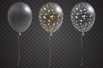 Three transparent balloons with gold and silver confetti inside. Isolated on transparent background. Vector festive helium balloons set. Holiday decoration element for your design. Eps 10