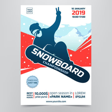 Snowboarding championship flyer concept. Contest poster with Snowboarder Silhouette on abstract winter background. Extreme winter sport. Applicable for invitation design, banners, flyers. Vector eps10