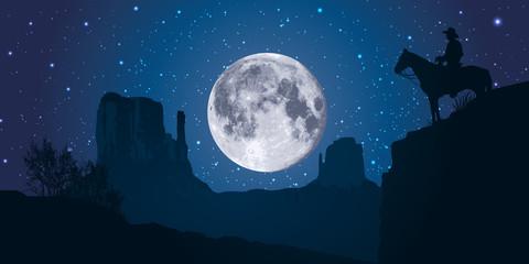 Monument Valley - lune - américain - États Unis - site touristique - symbole - nuit - panoramique
