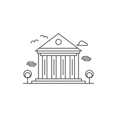Museum logo icon template design concept in mono line outline modern style