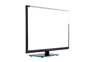 modern thin plasma LCD TV on a black glass stand isolated on a white background
