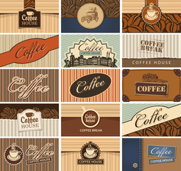 Vector set of business cards on the theme of coffee house with inscription coffee and different vintage images in retro style