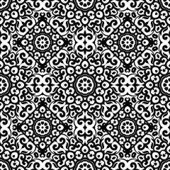 Vector seamless pattern with black and white ornament. Vintage design element in Eastern style. Ornamental lace tracery. Ornate floral decor for wallpaper. Traditional arabic  isolated on  background