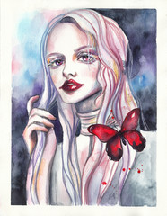 Beautiful girl with pink hair and purple eyes. Albino with red butterfly. Watercolor gothic illustration on abstract background