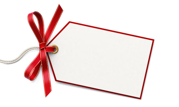 Blank gift tag and red ribbon bow with gold border
