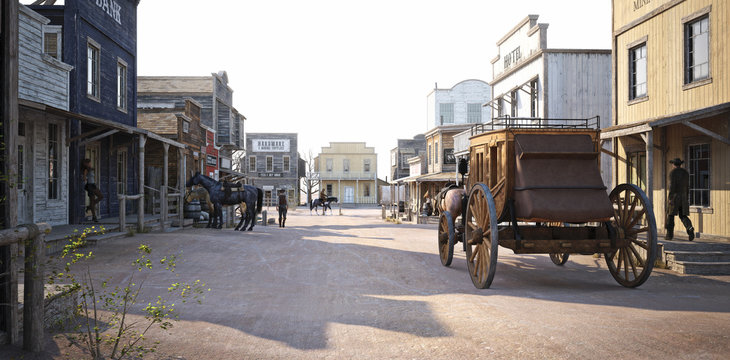Western populated town with various businesses . 3d rendering