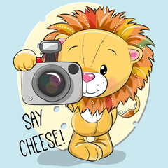 Cute cartoon Lion with a camera