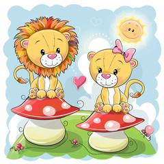 Two Cute Cartoon lions on mushrooms