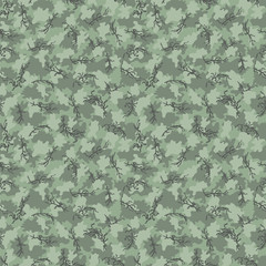 Camouflage pattern background seamless vector illustration. Classic clothing style masking camo repeat print. Green brown black olive khaki colors forest texture
