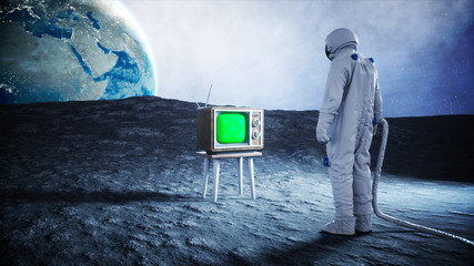 alone astronaut on the moon watch old TV. Tracking your content. 3d rendering.