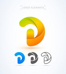 Swirl letter D logo template. Material design, flat, line-art styles. Company symbol or app icon