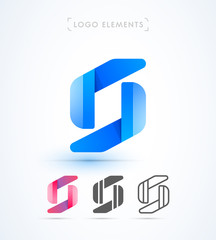 Vector letter S logo template. Material design, flat, line-art styles. Company symbol or app icon