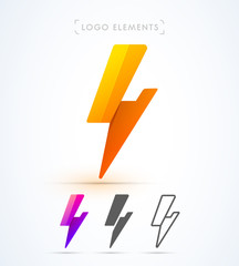 Vector abstract origami flash logo elements. Material design, flat, line-art styles. Company symbol or app icon