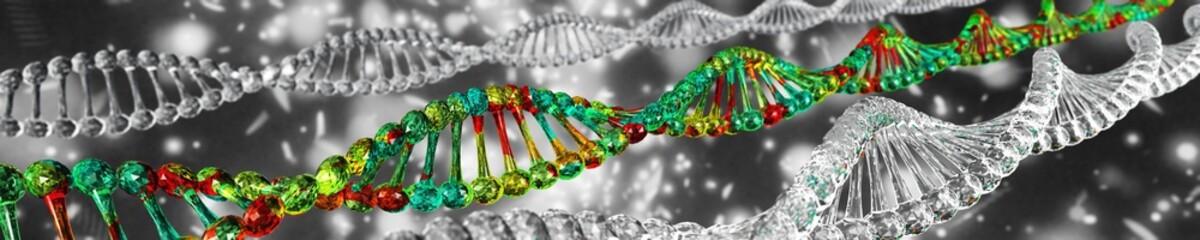 Spiral DNA, scientific background, banner, 3d rendering