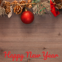 Christmas decorations on wooden boards. background. greeting card