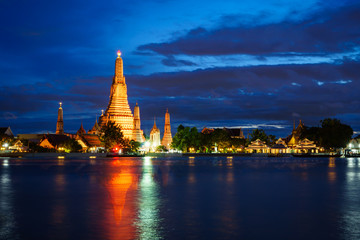 WAT ARUN with water reflection at twilight time , Bangkok Thailand