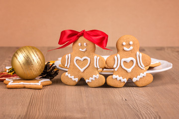 Christmas cookies with decoration / Still life with decorated Christmas gingerbread cookies on a wooden background