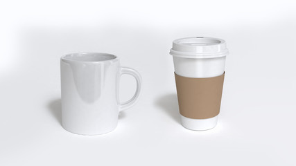white coffee cup-white paper coffee cup 3d rendering