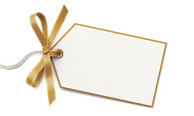 Blank gift tag and golden ribbon bow with gold border