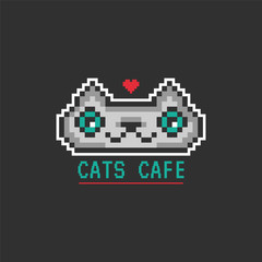 Cute nice gray pixel cat. Pixel art. Domestic cat portrait. It can be used for printing on t-shirts, postcards, stickers, or for your design. Modern style.