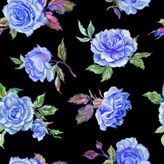 Seamless pattern of blue roses on a black background, watercolor drawing.