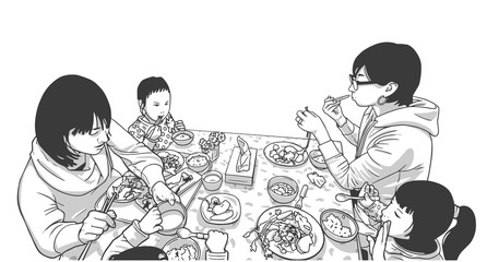 Illustration of young mathers with children enjoying meal in black and white
