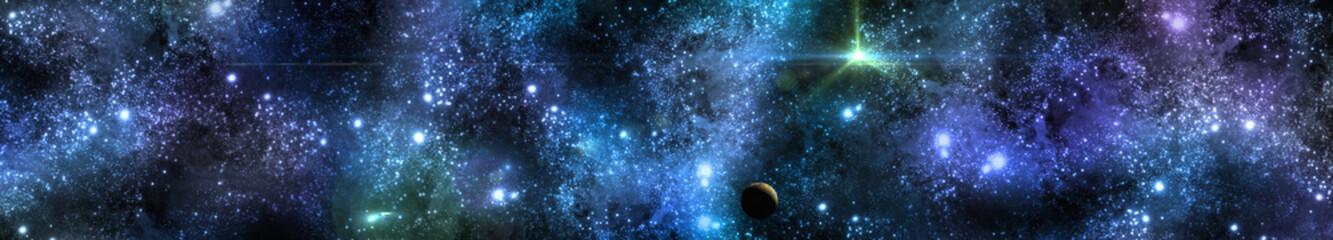 panorama of stars, banner, 3D rendering