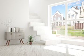 White empty room with stair and summer landscape in window. Scandinavian interior design. 3D illustration