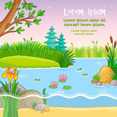 Vector background illustration with nature. Pond with frogs and plants in a children's style.