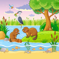 Vector set with animals and nature in a children's style. Beavers are near the dam. The heron holds the frog in its beak.