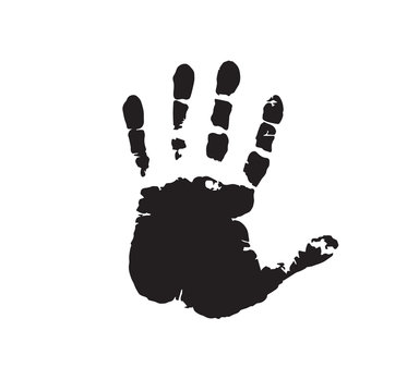 Human hand print isolated on white background. Vector illustration, icon, clip art.