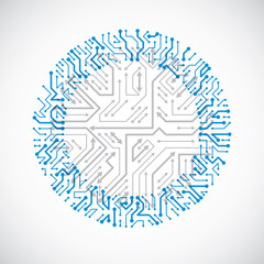 Vector abstract computer circuit board blue illustration, round technology element with connections and arrows. Electronics theme web design.