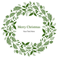 christmas floral wreath frame flat vector