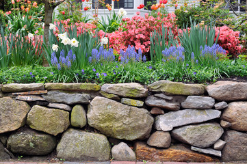 Dry Stone Wall and Colorful Garden