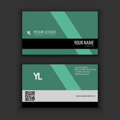 Modern Creative and Clean Business Card Template with green dark color