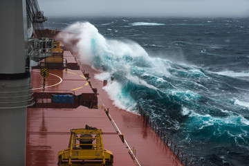Heavy storm in north Pacific from cargo ship