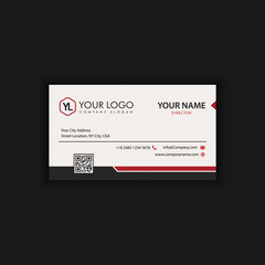 Modern Creative and Clean Business Card Template with Red Black color
