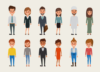 Set of women and men character.Different nationalities and dress styles.