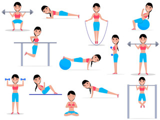Vector illustration cartoon girl doing exercises